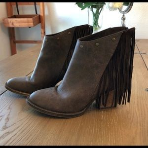 Leather fringe booties